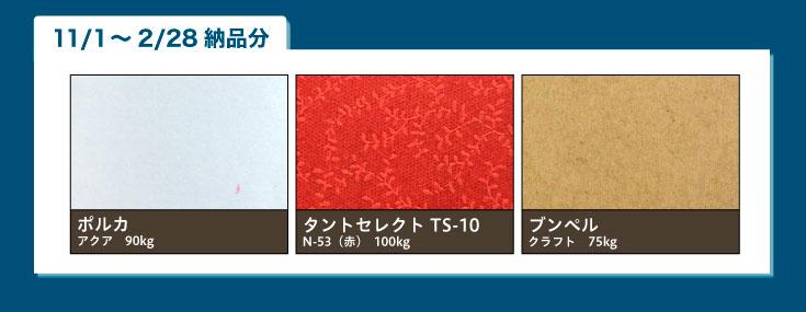ポルカアクア90kg、タントセレクトTS-10 N53(赤)100kg、ブンペルクラフト75kg