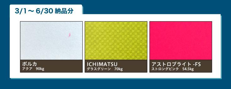 ・ポルカ アクア 90kg  ・ICHIMATSU グラスグリーン 70kg ・アストロブライト-FS ストロングピンク 54.5kg