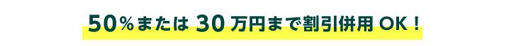 セット価格の50%または30万円まで割引併用OK!