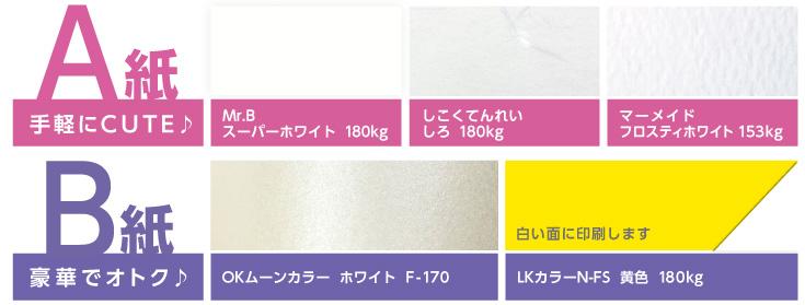 A紙Mr.B スーパーホワイト 180kg、しこくてんれい しろ 180kg、マーメイド フロスティホワイト 153kg、B紙OKムーンカラーホワイトF-170、LKカラーN-FS 黄色 180kg