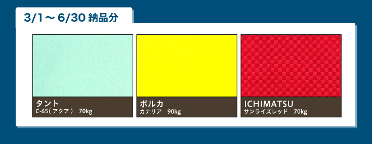 タント C-65(アクア)70kg、ポルカ カナリア 90kg、ICHIMATSU サンライズレッド 70kg