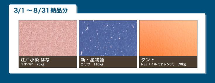 江戸小染 はな うすべに 70kg、新・星物語 カリブ 110kg、タント I-55(イルミオレンジ) 70kg