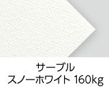 「サーブル スノーホワイト 160kg」 画用紙のような砂目のエンボスがある風合い豊かな特殊紙です。白色度の高いスノーホワイトを採用しています。
